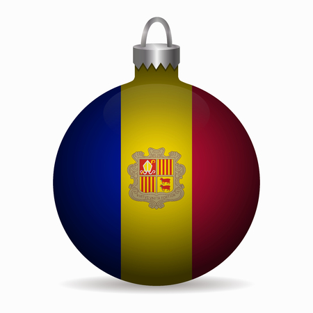 andorra: andorra flag christmas ball vector