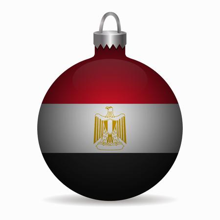 bandera egipto: Bandera de Egipto vector de la bola de Navidad