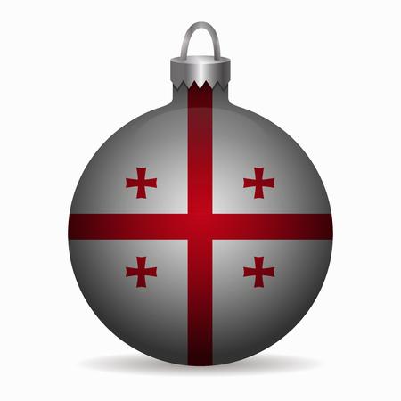 georgia: georgia flag christmas ball vector