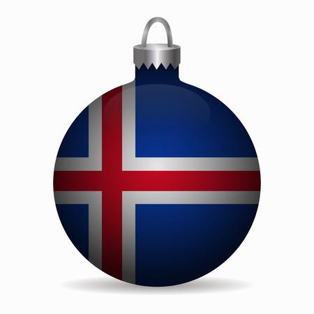 iceland flag: iceland flag christmas ball vector Illustration