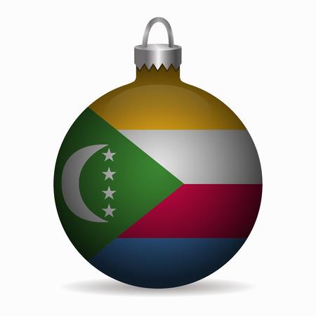 comoros flag christmas ball vector