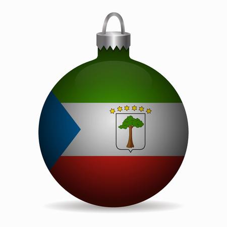 equatorial guinea: equatorial guinea flag christmas ball vector