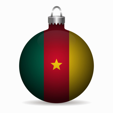 cameroon: cameroon flag christmas ball vector