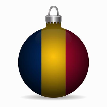 chad flag christmas ball vector