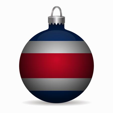 bandera de costa rica: bandera de Costa Rica vector de la bola de Navidad Vectores