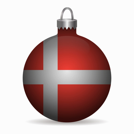 denmark flag: denmark flag christmas ball vector
