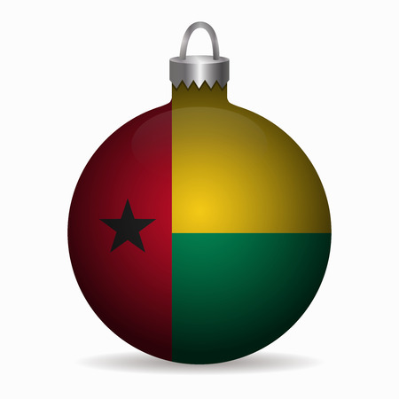 guinea bissau: guinea bissau flag christmas ball vector Illustration