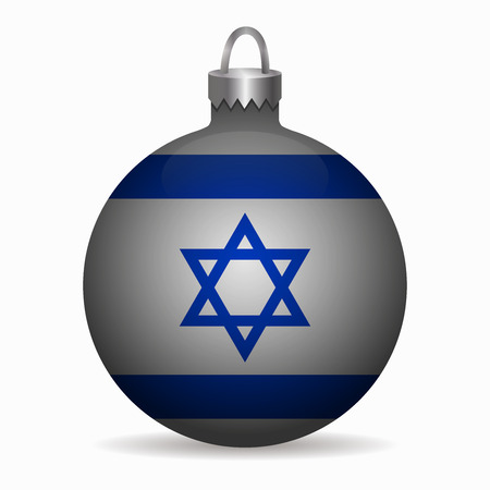 israel flag: israel flag christmas ball vector