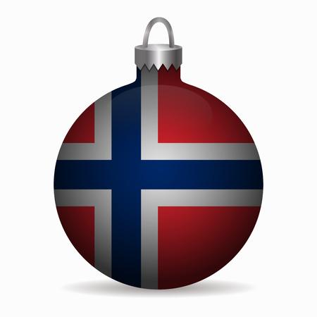 norway flag: norway flag christmas ball vector