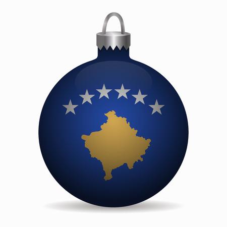 kosovo: kosovo flag christmas ball vector