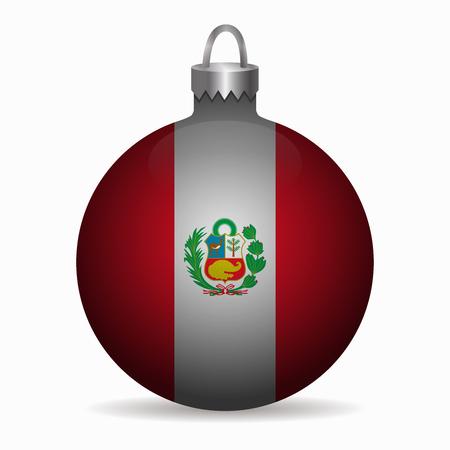 bandera de peru: bandera de Perú vector de la bola de Navidad Vectores