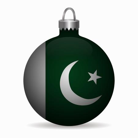 pakistan flag christmas ball vector