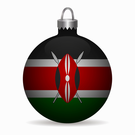 kenya: kenya flag christmas ball vector