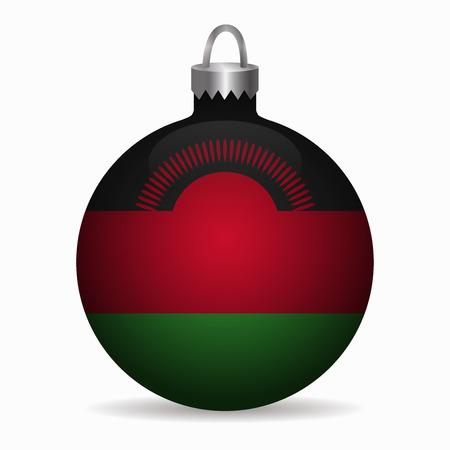 malawi: malawi flag christmas ball vector