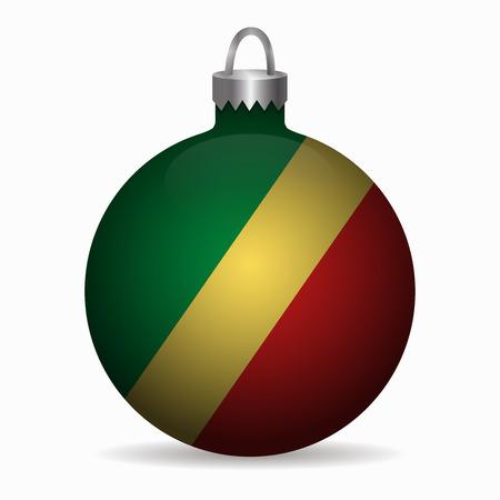 republic congo flag christmas ball vector Illustration