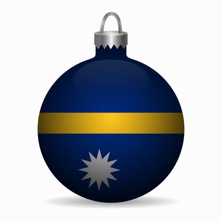 nauru flag christmas ball vector