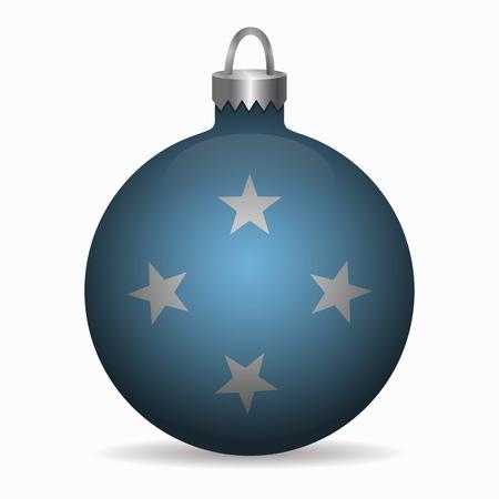 micronesia: micronesia flag christmas ball vector