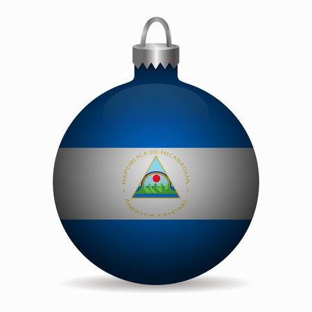 nicaragua: nicaragua flag christmas ball vector
