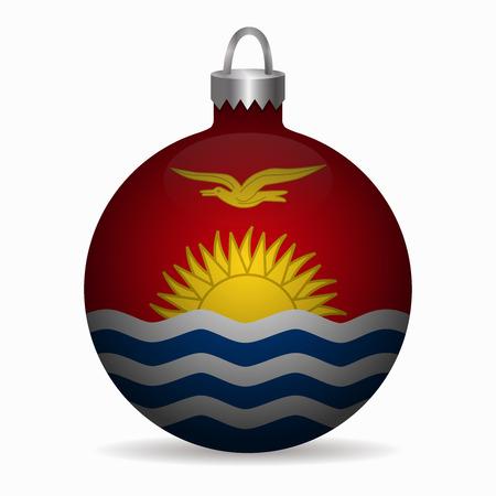 kiribati: kiribati flag christmas ball vector Illustration