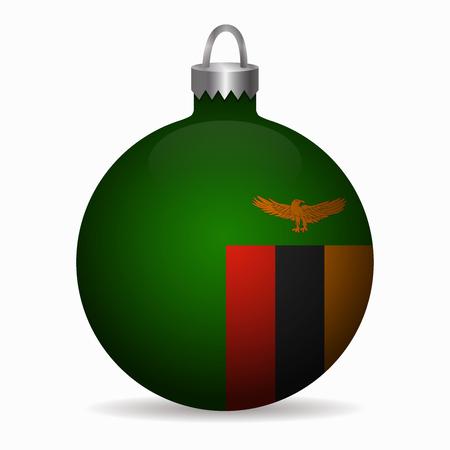 zambia flag: zambia flag christmas ball vector