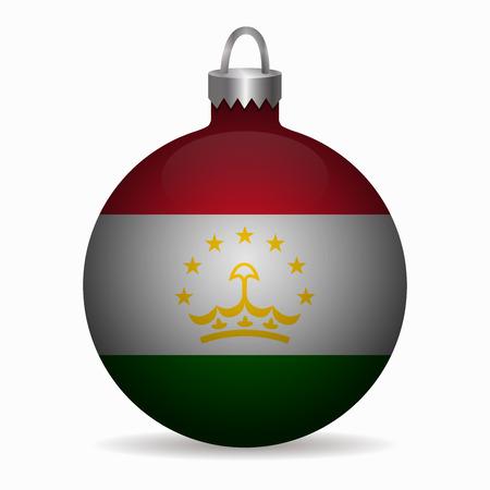 tajikistan: tajikistan flag christmas ball vector