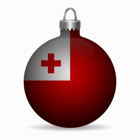 tonga: tonga flag christmas ball vector Illustration