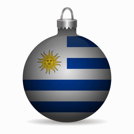 bandera uruguay: bandera de Uruguay vector de la bola de Navidad