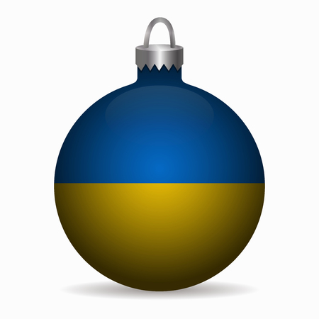 emblem of ukraine: ukraine flag christmas ball vector