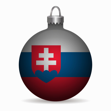 slovakia flag: slovakia flag christmas ball vector Illustration