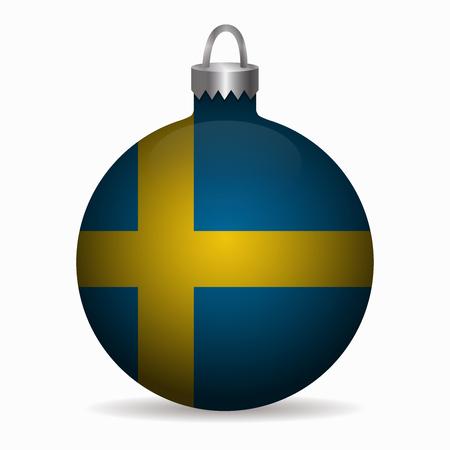 sweden flag: sweden flag christmas ball vector