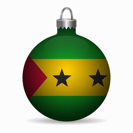 sao tome flag christmas ball vector