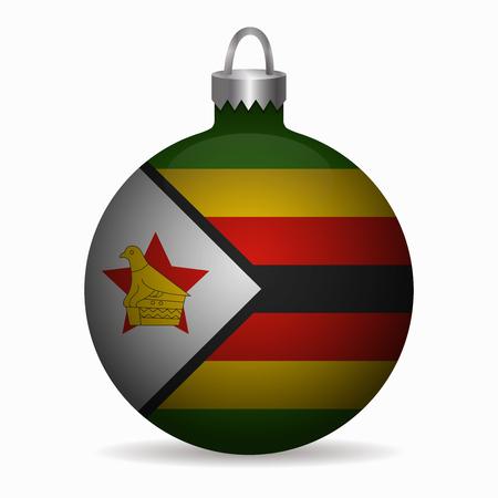 zimbabwe: zimbabwe flag christmas ball vector