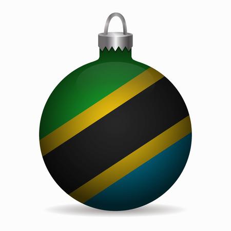 tanzania: tanzania flag christmas ball vector