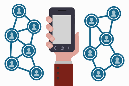 smartphone hand: hand, smartphone and social networks Illustration