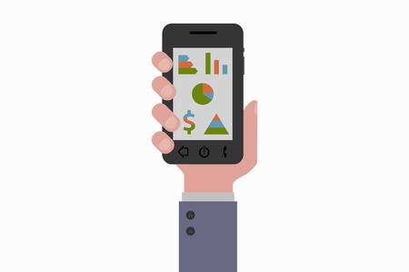 smartphone hand: hand holding smartphone marketing Illustration