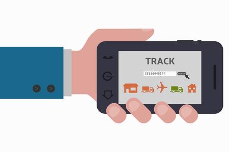 smartphone hand: hand holding track smartphone