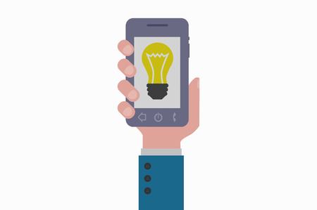 smartphone hand: hand holding smartphone idea Illustration