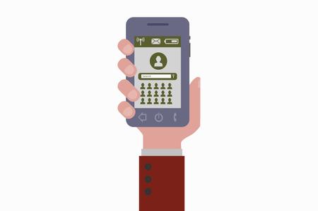 smartphone hand: hand holding smartphone social