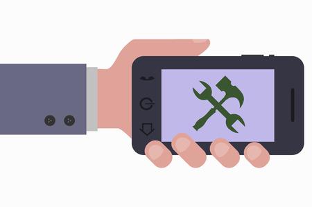 smartphone hand: hand and smartphone configuration Illustration