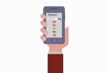 smartphone hand: hand holding smartphone track Illustration