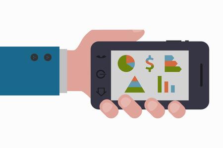 smartphone hand: hand holding marketing smartphone