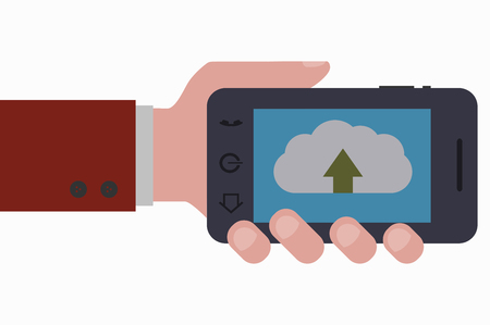 smartphone hand: hand and smartphone up to the cloud