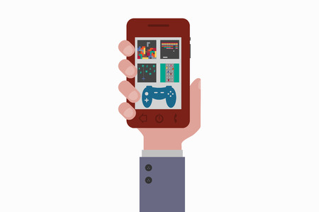 games hand: hand holding smartphone games