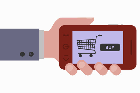 smartphone hand: hand and smartphone web purchases