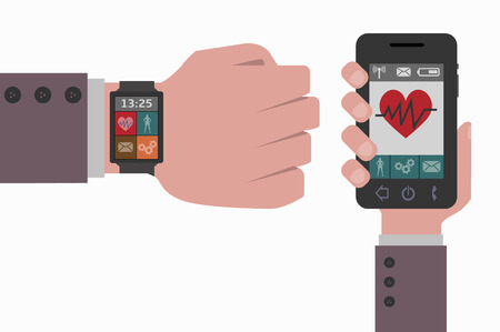 smart phone: smart phone and smart watch health Illustration