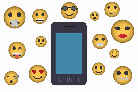 smartphone and emoticons