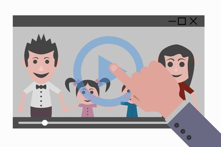 users video: touch movie with family Illustration