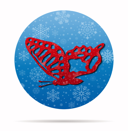 beauty butterfly christmas icon in circle Illustration