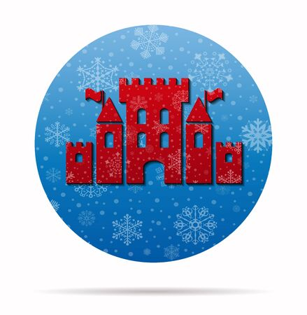 mediaeval: fantasy castle christmas icon in circle Illustration