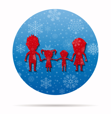 dolls family christmas icon in circle